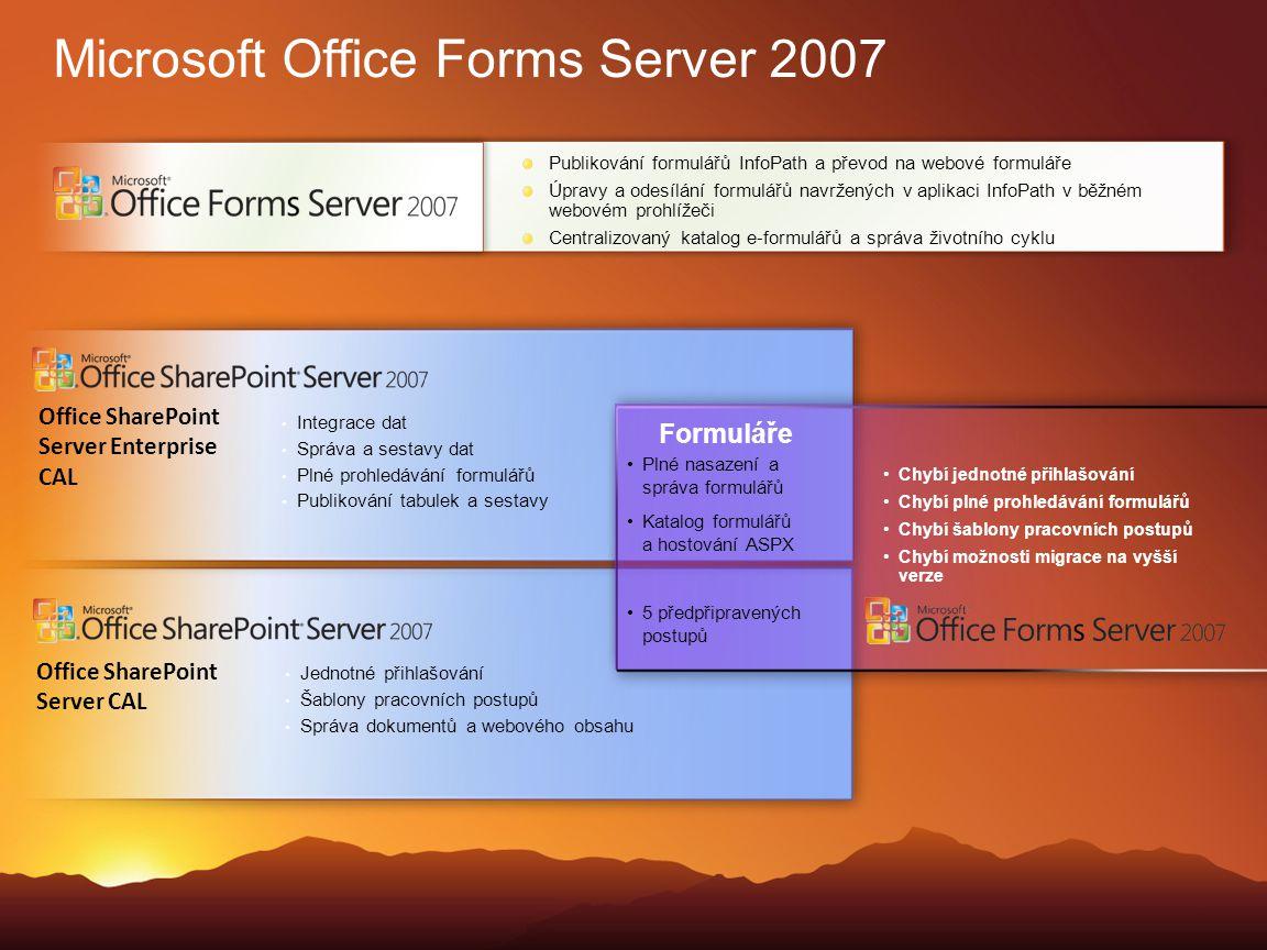 Microsoft Office Forms Server 2007 Publikování formulářů InfoPath a převod na webové formuláře Úpravy a odesílání formulářů navržených v aplikaci Info