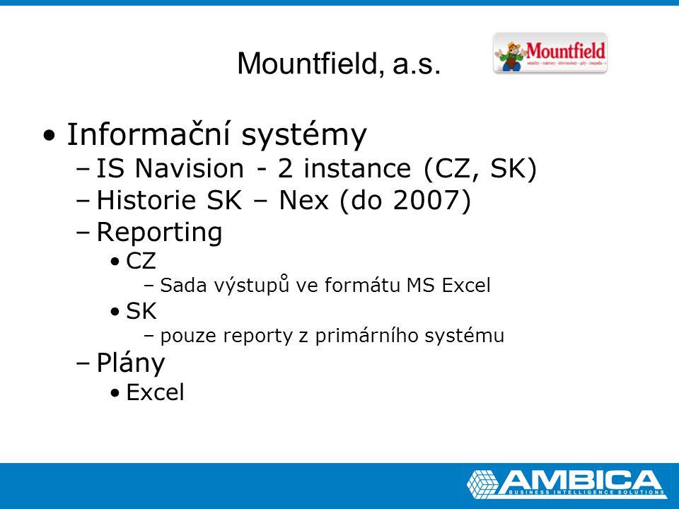 Mountfield, a.s. Informační systémy –IS Navision - 2 instance (CZ, SK) –Historie SK – Nex (do 2007) –Reporting CZ –Sada výstupů ve formátu MS Excel SK