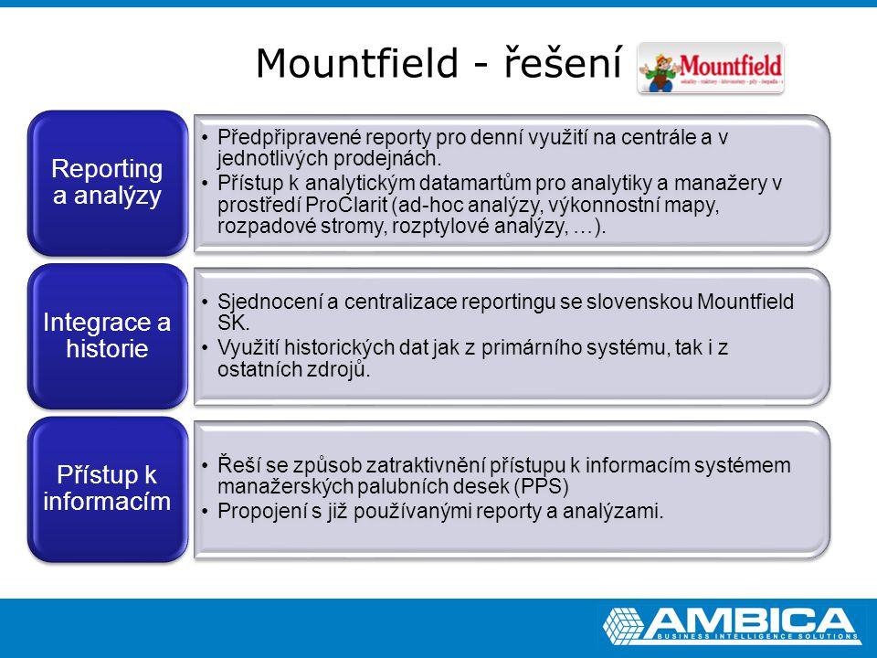 Mountfield - řešení Předpřipravené reporty pro denní využití na centrále a v jednotlivých prodejnách. Přístup k analytickým datamartům pro analytiky a