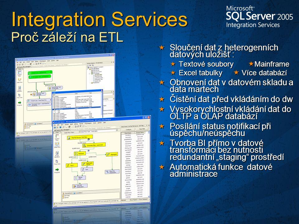 """ Sloučení dat z heterogenních datových uložišť :  Textové soubory  Mainframe  Excel tabulky  Více databází  Obnovení dat v datovém skladu a data martech  Čistění dat před vkládáním do dw  Vysokorychlostní vkládání dat do OLTP a OLAP databází  Posílání status notifikací při úspěchu/neúspěchu  Tvorba BI přímo v datové transformaci bez nutnosti redundantní """"staging prostředí  Automatická funkce datové administrace Integration Services Proč záleží na ETL"""
