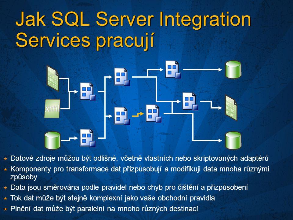 Jak SQL Server Integration Services pracují  Datové zdroje můžou být odlišné, včetně vlastních nebo skriptovaných adaptérů  Komponenty pro transformace dat přizpůsobují a modifikuji data mnoha různými způsoby  Data jsou směrována podle pravidel nebo chyb pro čištění a přizpůsobení  Tok dat může být stejně komplexní jako vaše obchodní pravidla  Plnění dat může být paralelní na mnoho různých destinací
