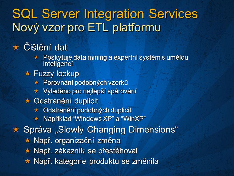 """ Čištění dat  Poskytuje data mining a expertní systém s umělou inteligencí  Fuzzy lookup  Porovnání podobných vzorků  Vyladěno pro nejlepší spárování  Odstranění duplicit  Odstranění podobných duplicit  Například Windows XP a WinXP  Správa """"Slowly Changing Dimensions  Např."""