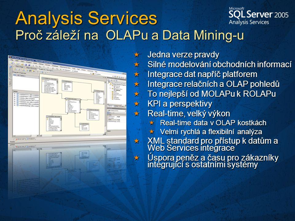 Analysis Services Proč záleží na OLAPu a Data Mining-u  Jedna verze pravdy  Silné modelování obchodních informací  Integrace dat napříč platforem  Integrace relačních a OLAP pohledů  To nejlepší od MOLAPu k ROLAPu  KPI a perspektivy  Real-time, velký výkon  Real-time data v OLAP kostkách  Velmi rychlá a flexibilní analýza  XML standard pro přístup k datům a Web Services integrace  Úspora peněz a času pro zákazníky integrující s ostatními systémy