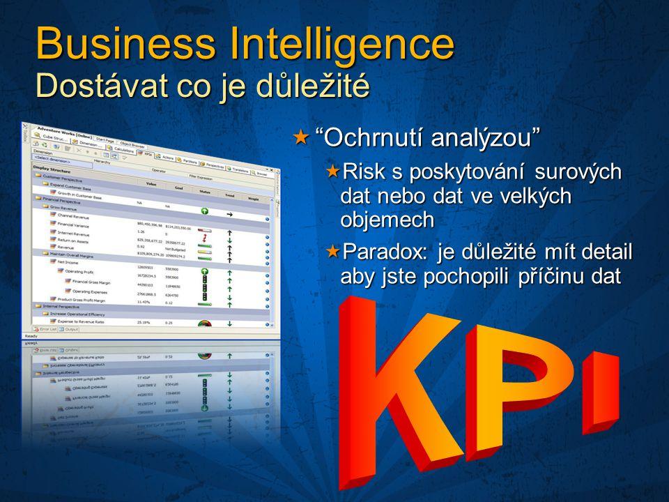 Business Intelligence Dostávat co je důležité  Ochrnutí analýzou  Risk s poskytování surových dat nebo dat ve velkých objemech  Paradox: je důležité mít detail aby jste pochopili příčinu dat