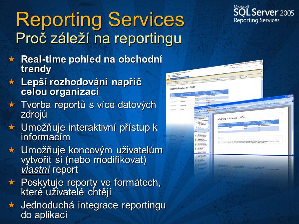  Real-time pohled na obchodní trendy  Lepší rozhodování napříč celou organizací  Tvorba reportů s více datových zdrojů  Umožňuje interaktivní přístup k informacím  Umožňuje koncovým uživatelům vytvořit si (nebo modifikovat) vlastní report  Poskytuje reporty ve formátech, které uživatelé chtějí  Jednoduchá integrace reportingu do aplikací Reporting Services Proč záleží na reportingu