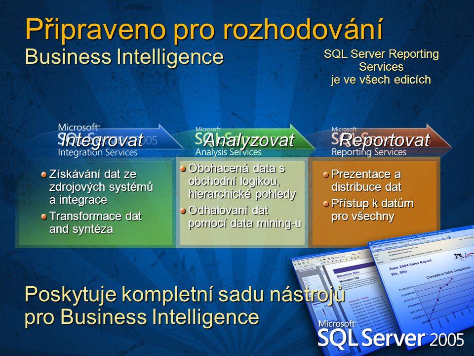 Získávání dat ze zdrojových systémů a integrace Transformace dat and syntéza Obohacená data s obchodní logikou, hierarchické pohledy Odhalovaní dat pomocí data mining-u Prezentace a distribuce dat Přístup k datům pro všechny IntegrovatAnalyzovatReportovat Připraveno pro rozhodování Business Intelligence Poskytuje kompletní sadu nástrojů pro Business Intelligence SQL Server Reporting Services je ve všech edicích