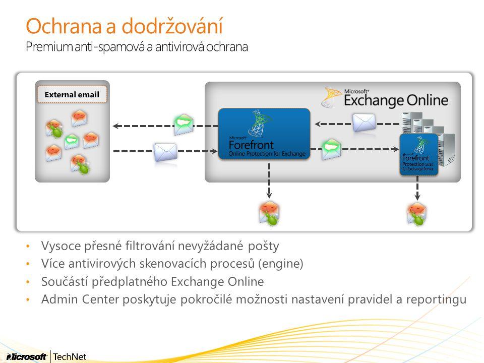 Ochrana a dodržování Premium anti-spamová a antivirová ochrana Vysoce přesné filtrování nevyžádané pošty Více antivirových skenovacích procesů (engine
