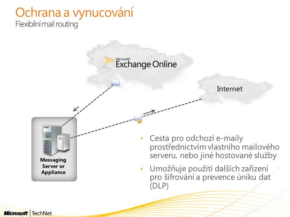 Ochrana a vynucování Flexibilní mail routing Cesta pro odchozí e-maily prostřednictvím vlastního mailového serveru, nebo jiné hostované služby Umožňuj