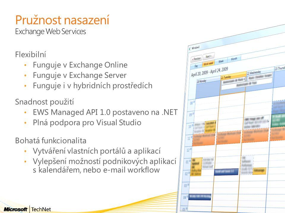 Pružnost nasazení Exchange Web Services Flexibilní Funguje v Exchange Online Funguje v Exchange Server Funguje i v hybridních prostředích Snadnost pou