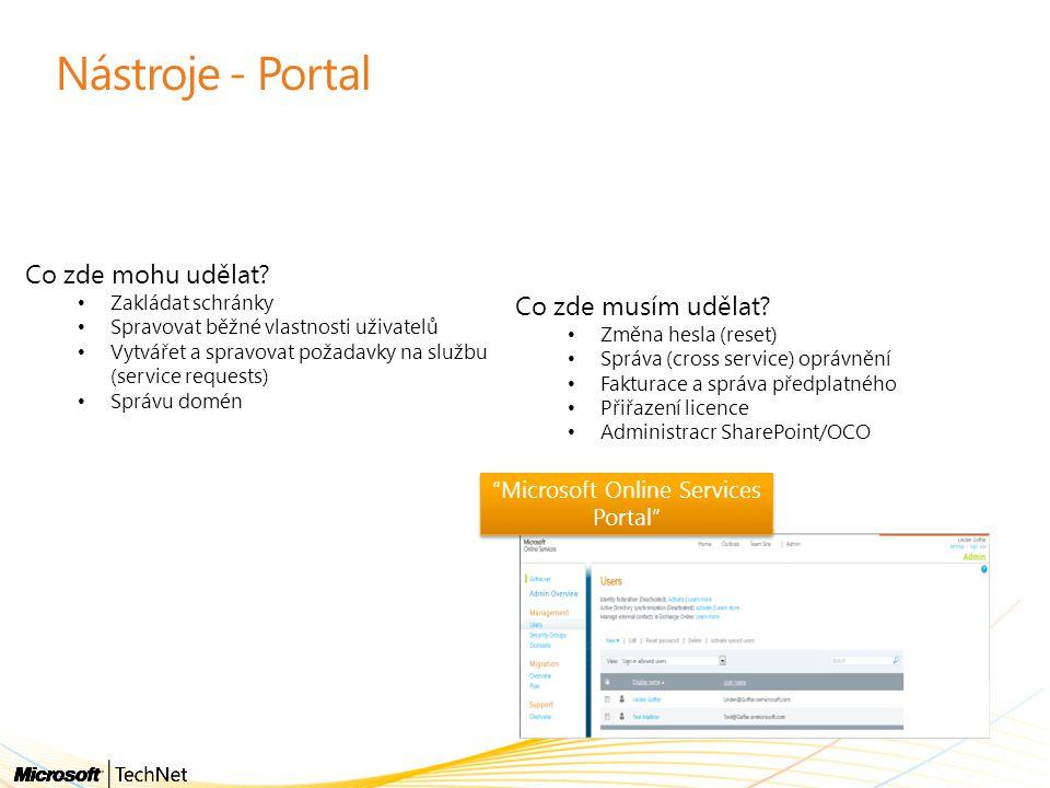 Nástroje - Portal Co zde mohu udělat? Zakládat schránky Spravovat běžné vlastnosti uživatelů Vytvářet a spravovat požadavky na službu (service request