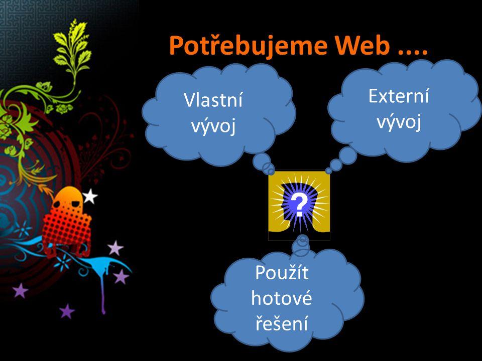 Vlastní vývoj Externí vývoj Použít hotové řešení Potřebujeme Web....