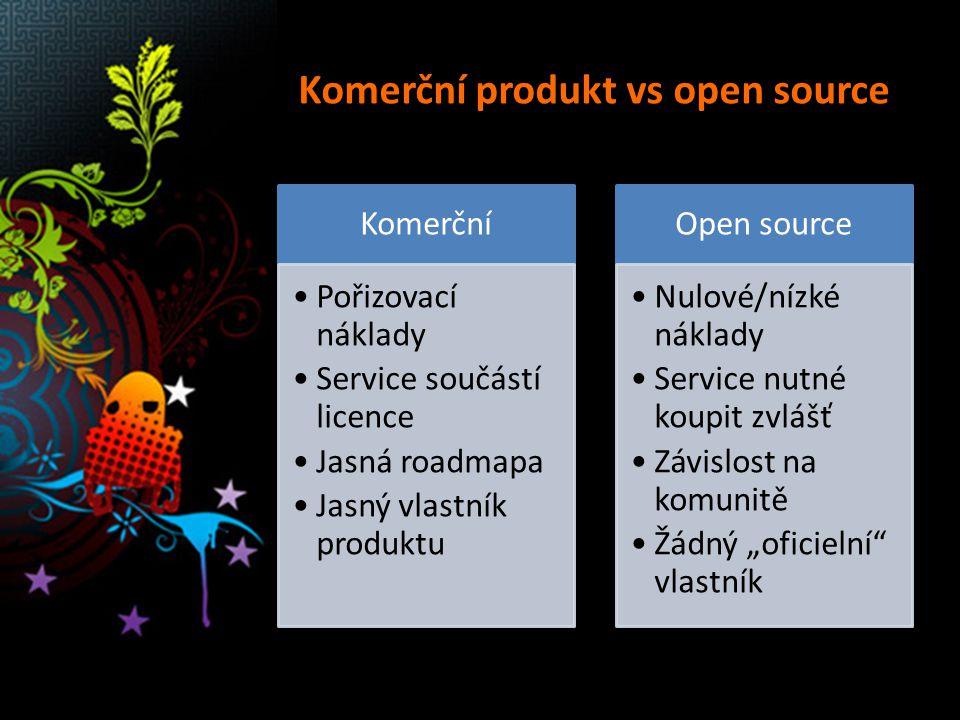 """Komerční produkt vs open source Komerční Pořizovací náklady Service součástí licence Jasná roadmapa Jasný vlastník produktu Open source Nulové/nízké náklady Service nutné koupit zvlášť Závislost na komunitě Žádný """"oficielní vlastník"""