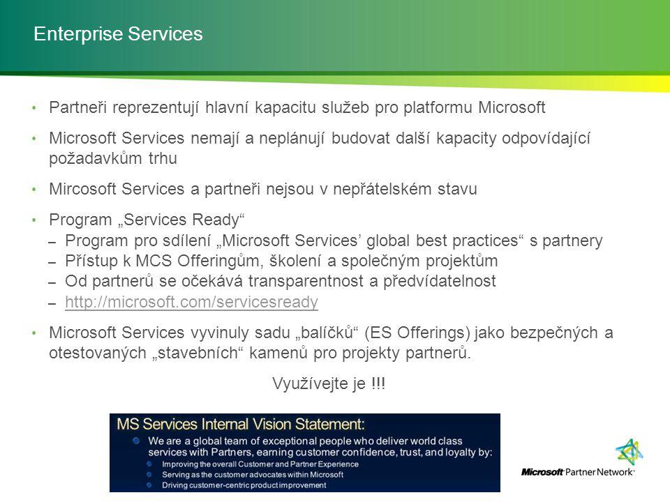 Enterprise Services Partneři reprezentují hlavní kapacitu služeb pro platformu Microsoft Microsoft Services nemají a neplánují budovat další kapacity