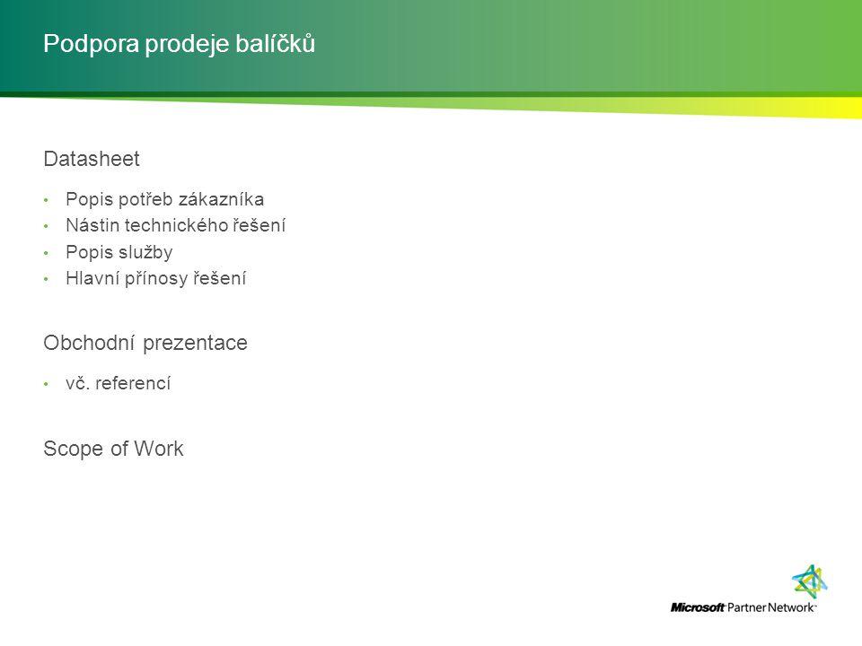 Podpora prodeje balíčků Datasheet Popis potřeb zákazníka Nástin technického řešení Popis služby Hlavní přínosy řešení Obchodní prezentace vč. referenc
