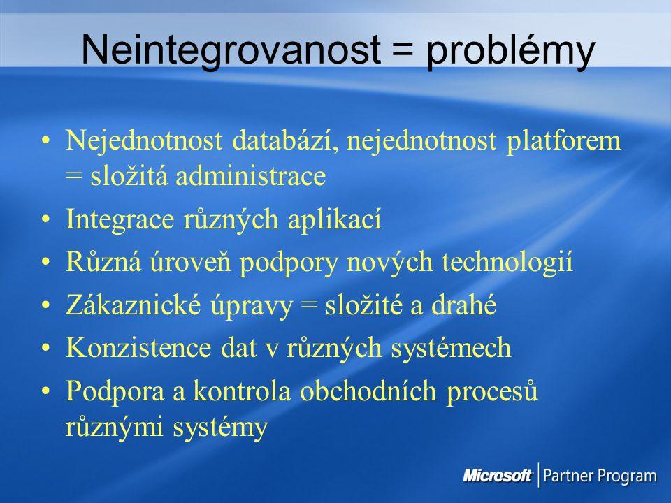 Neintegrovanost = problémy Nejednotnost databází, nejednotnost platforem = složitá administrace Integrace různých aplikací Různá úroveň podpory nových