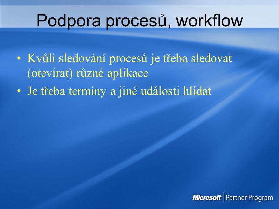 Podpora procesů, workflow Kvůli sledování procesů je třeba sledovat (otevírat) různé aplikace Je třeba termíny a jiné události hlídat