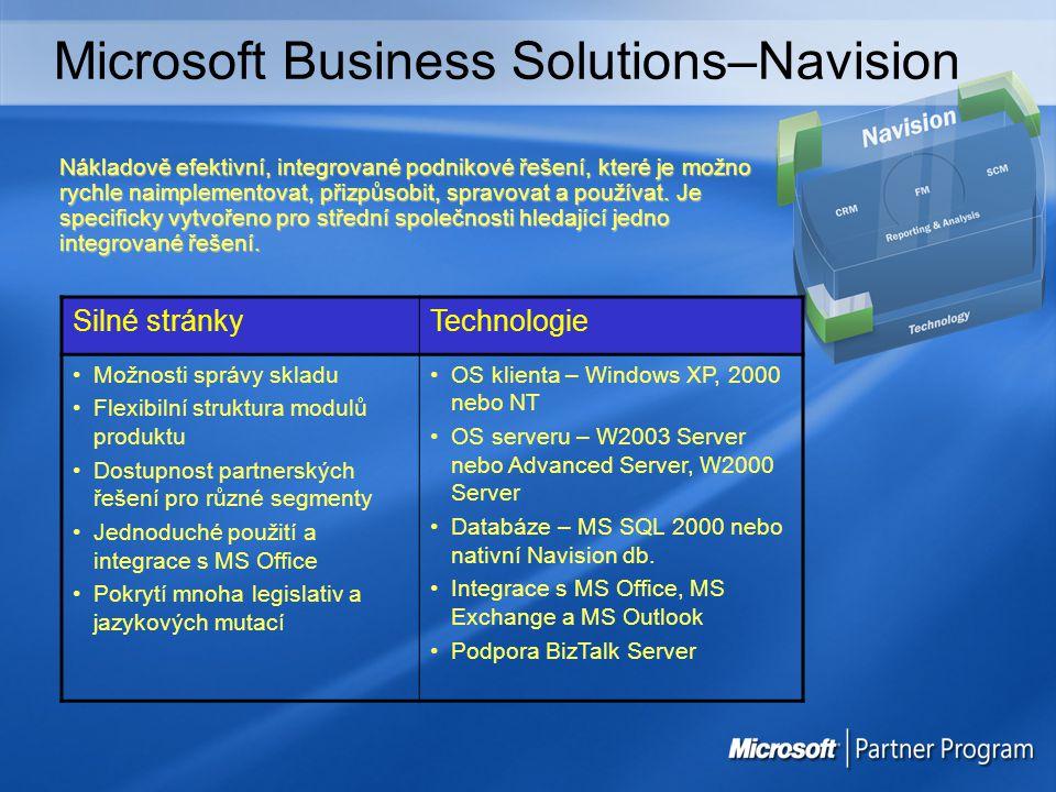 Microsoft Business Solutions–Axapta Silné stránkyTechnologie Výrobní procesy Složité skladové scénáře Distribuční firmy s náročnými požadavky Projekty a zakázky Velcí zákazníci Více podniků, lokací, jazyků, zemí Extrémní adaptabilita OS klienta – Windows XP, 2000 nebo NT, IE 5 nebo vyšší Server OS – W2k Server nebo Advanced Server, NT 4.0 nebo NT 4.0 Enterprise Databáze – MS SQL nebo Oracle Integrace s MS Office a MS Outlook podporuje BizTalk Server Komplexní a robustní software pro střední a velké či mezinárodní společnosti.