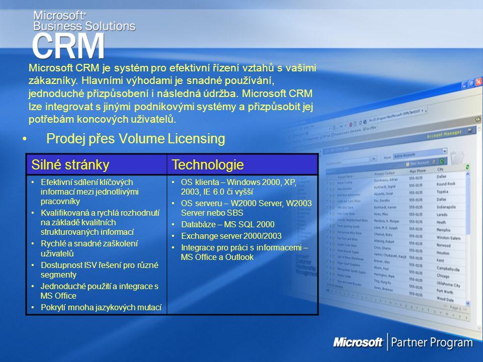 Prodej přes Volume Licensing Microsoft CRM je systém pro efektivní řízení vztahů s vašimi zákazníky. Hlavními výhodami je snadné používání, jednoduché