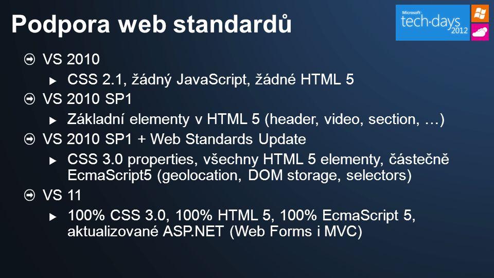 VS 2010  CSS 2.1, žádný JavaScript, žádné HTML 5 VS 2010 SP1  Základní elementy v HTML 5 (header, video, section, …) VS 2010 SP1 + Web Standards Update  CSS 3.0 properties, všechny HTML 5 elementy, částečně EcmaScript5 (geolocation, DOM storage, selectors) VS 11  100% CSS 3.0, 100% HTML 5, 100% EcmaScript 5, aktualizované ASP.NET (Web Forms i MVC) Podpora web standardů
