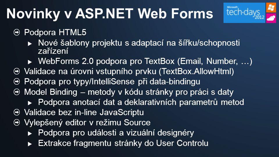Podpora HTML5  Nové šablony projektu s adaptací na šířku/schopnosti zařízení  WebForms 2.0 podpora pro TextBox (Email, Number, …) Validace na úrovni