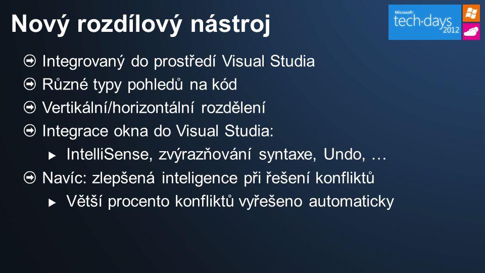 Integrovaný do prostředí Visual Studia Různé typy pohledů na kód Vertikální/horizontální rozdělení Integrace okna do Visual Studia:  IntelliSense, zvýrazňování syntaxe, Undo, … Navíc: zlepšená inteligence při řešení konfliktů  Větší procento konfliktů vyřešeno automaticky Nový rozdílový nástroj