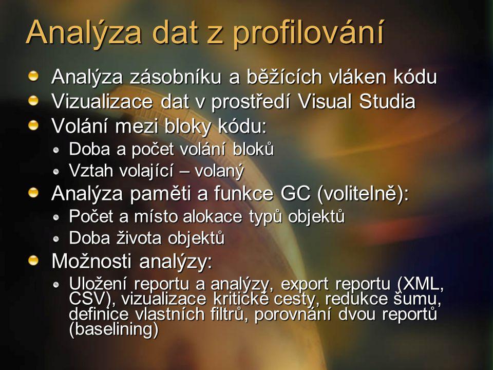Analýza zásobníku a běžících vláken kódu Vizualizace dat v prostředí Visual Studia Volání mezi bloky kódu: Doba a počet volání bloků Vztah volající – volaný Analýza paměti a funkce GC (volitelně): Počet a místo alokace typů objektů Doba života objektů Možnosti analýzy: Uložení reportu a analýzy, export reportu (XML, CSV), vizualizace kritické cesty, redukce šumu, definice vlastních filtrů, porovnání dvou reportů (baselining) Analýza dat z profilování