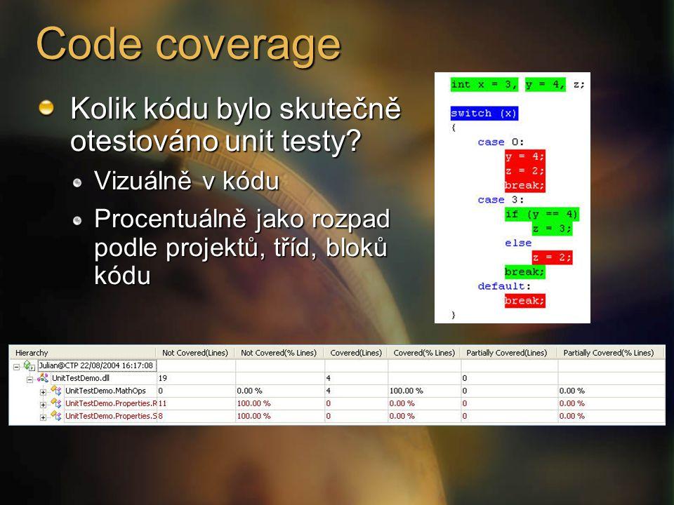 Code coverage Kolik kódu bylo skutečně otestováno unit testy.