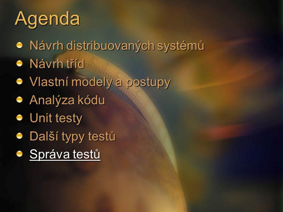 Agenda Návrh distribuovaných systémů Návrh tříd Vlastní modely a postupy Analýza kódu Unit testy Další typy testů Správa testů