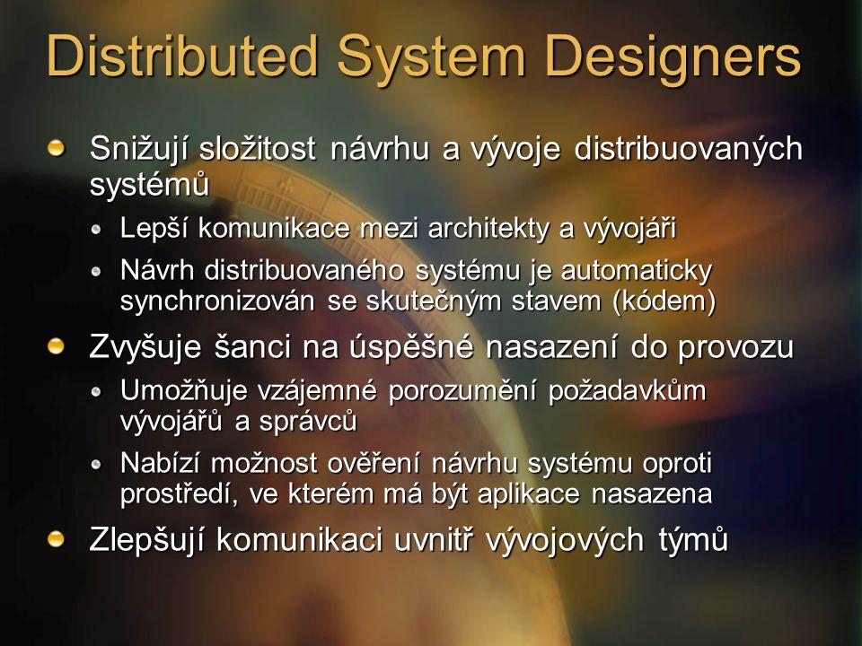 Snižují složitost návrhu a vývoje distribuovaných systémů Lepší komunikace mezi architekty a vývojáři Návrh distribuovaného systému je automaticky synchronizován se skutečným stavem (kódem) Zvyšuje šanci na úspěšné nasazení do provozu Umožňuje vzájemné porozumění požadavkům vývojářů a správců Nabízí možnost ověření návrhu systému oproti prostředí, ve kterém má být aplikace nasazena Zlepšují komunikaci uvnitř vývojových týmů Distributed System Designers