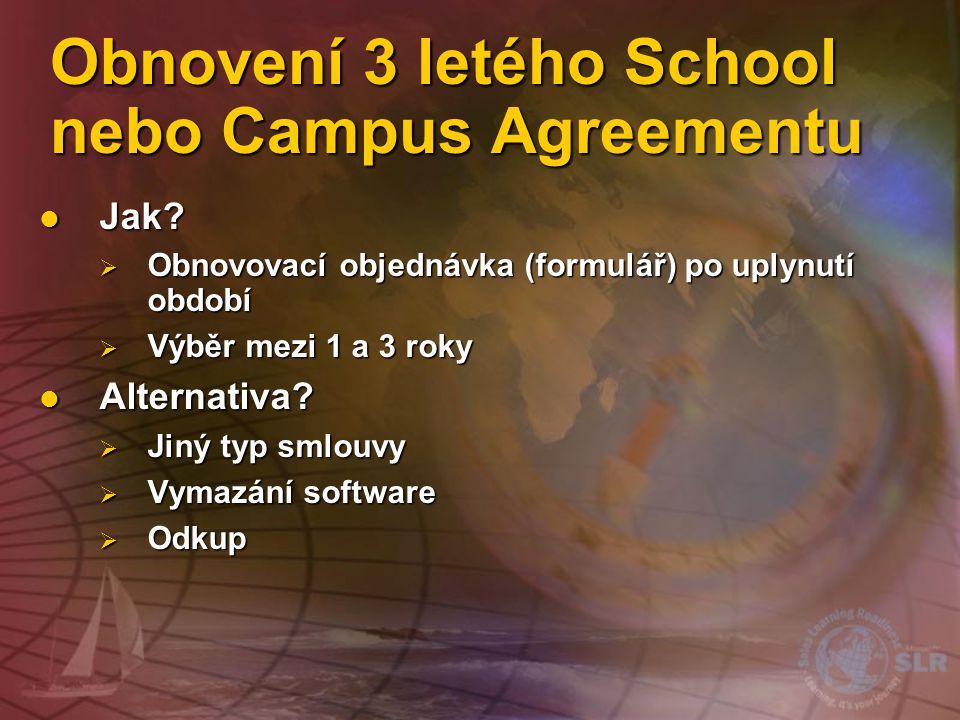 """Uzavření Campus a School Agreement Hlavní smlouva (Master Agreement) Podpis """"Hlavním zákazníkem"""" Právním termíny a podmínky NEMÁ DATUM UKONČENÍ Objedn"""