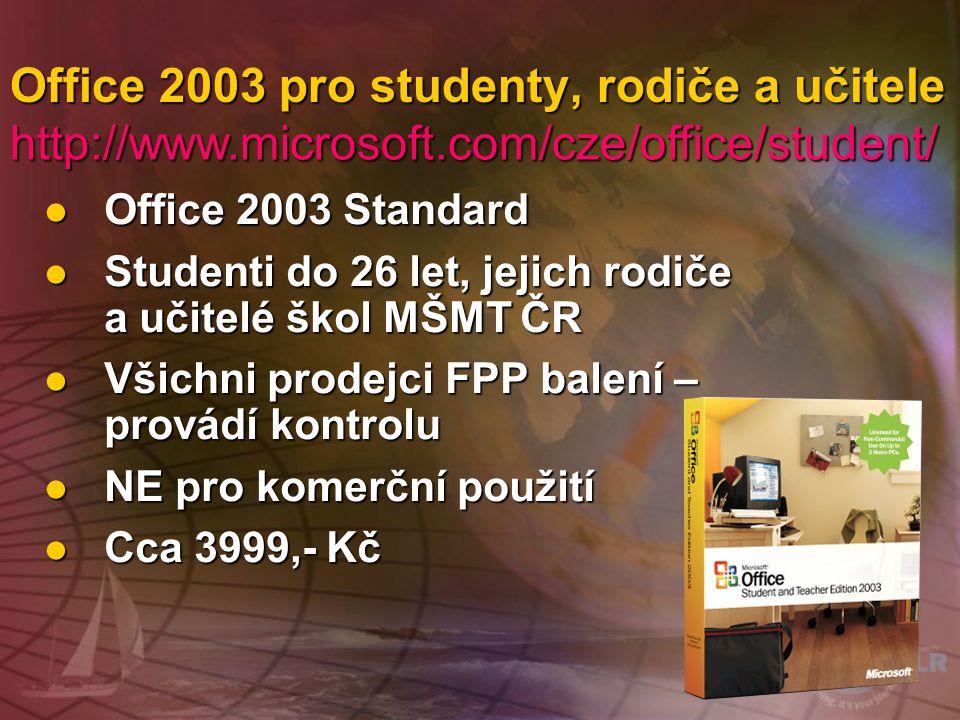 Office 2003 pro studenty, rodiče a učitele