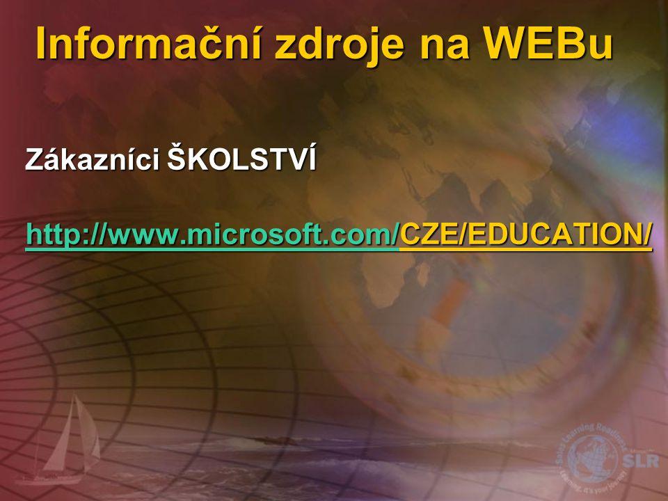 Licenční služby na WEBu Zákazníci Select https://licensing.microsoft.com (automatické přesměrování na stránky v češtině) Zákazníci Select https://lice