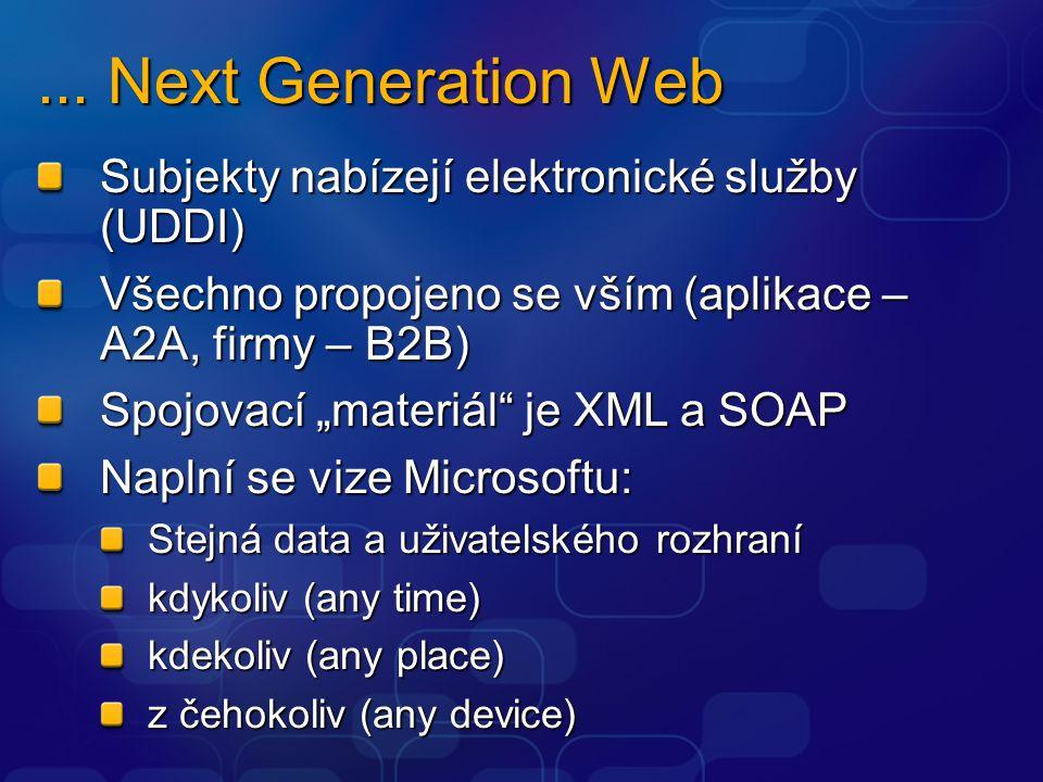 """... Next Generation Web Subjekty nabízejí elektronické služby (UDDI) Všechno propojeno se vším (aplikace – A2A, firmy – B2B) Spojovací """"materiál"""" je X"""
