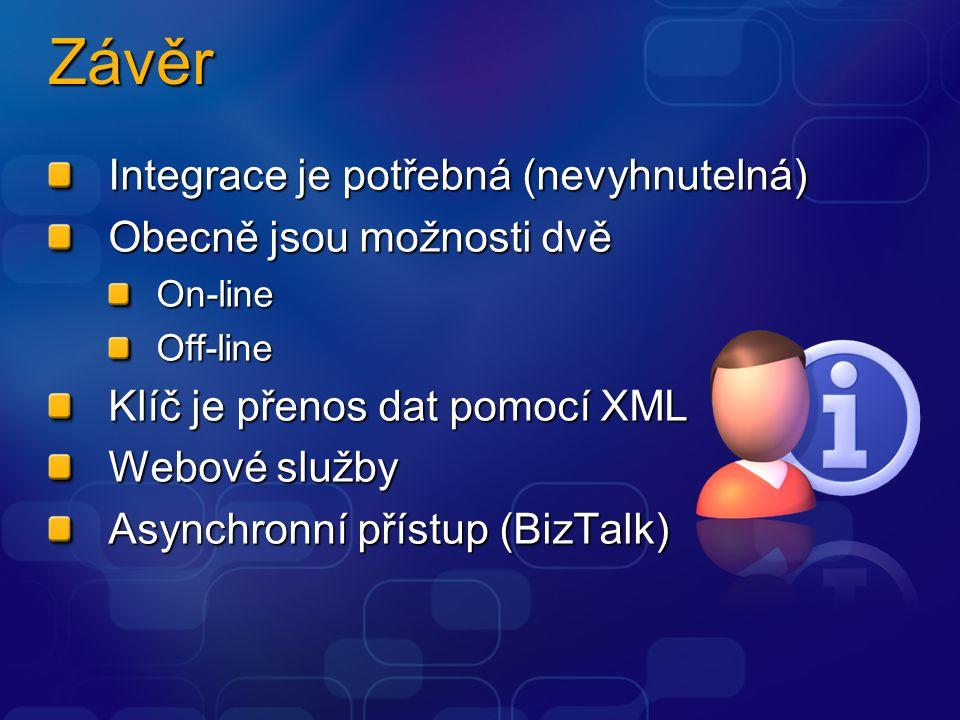Závěr Integrace je potřebná (nevyhnutelná) Obecně jsou možnosti dvě On-lineOff-line Klíč je přenos dat pomocí XML Webové služby Asynchronní přístup (BizTalk)