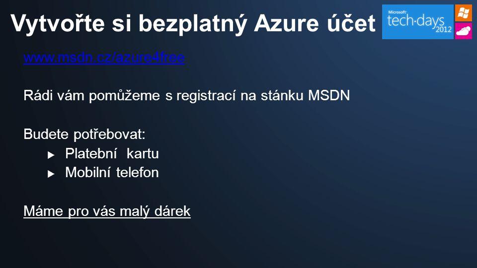 www.msdn.cz/azure4free Rádi vám pomůžeme s registrací na stánku MSDN Budete potřebovat:  Platební kartu  Mobilní telefon Máme pro vás malý dárek Vytvořte si bezplatný Azure účet