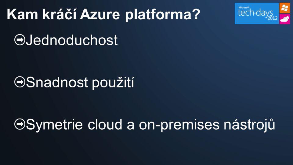 Jednoduchost Snadnost použití Symetrie cloud a on-premises nástrojů Kam kráčí Azure platforma?