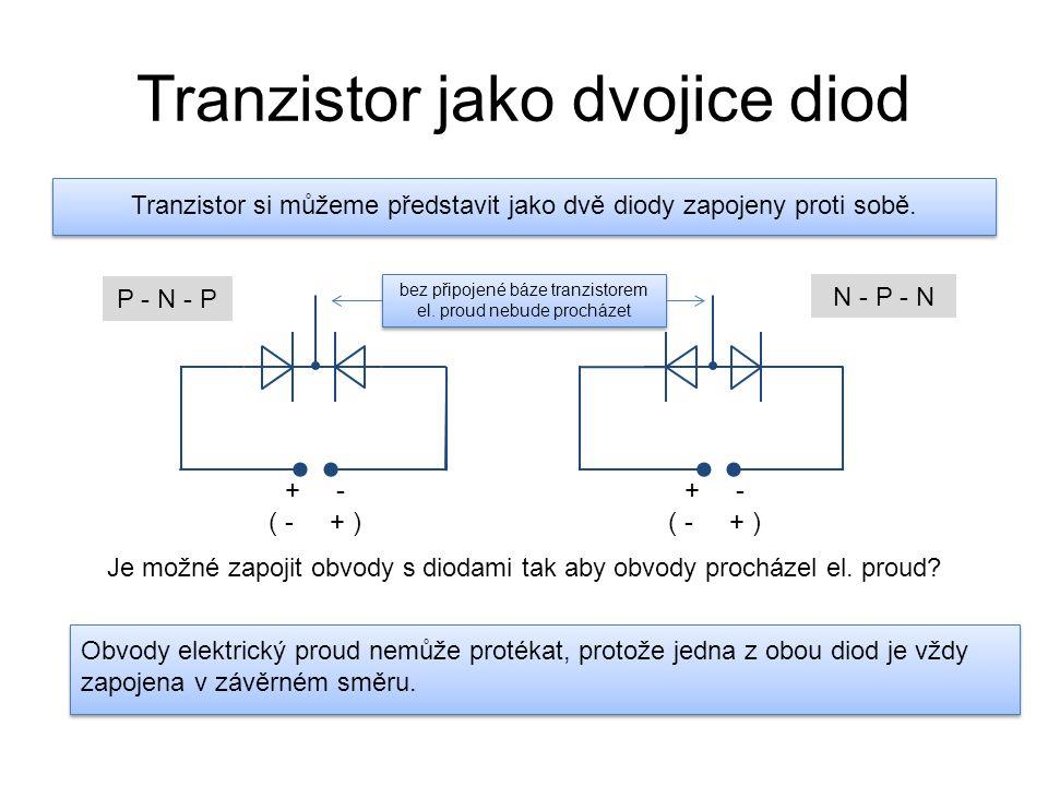 Tranzistor jako dvojice diod Tranzistor si můžeme představit jako dvě diody zapojeny proti sobě. P - N - P N - P - N Je možné zapojit obvody s diodami