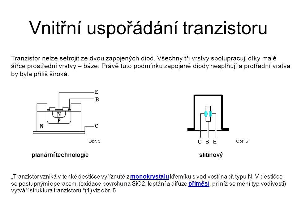 Vnitřní uspořádání tranzistoru Tranzistor nelze setrojit ze dvou zapojených diod. Všechny tři vrstvy spolupracují díky malé šířce prostřední vrstvy –