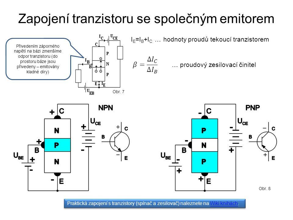 Zapojení tranzistoru se společným emitorem Obr. 7 I E =I B +I C … hodnoty proudů tekoucí tranzistorem … proudový zesilovací činitel Praktická zapojení