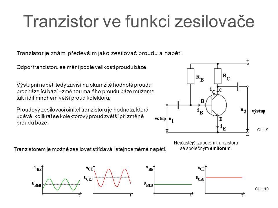 Tranzistor ve funkci zesilovače Tranzistor je znám především jako zesilovač proudu a napětí. Nejčastější zapojení tranzistoru se společným emitorem. V