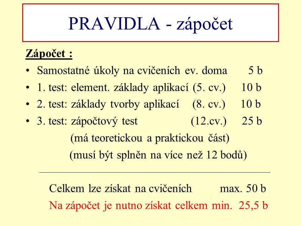 PRAVIDLA - zápočet Zápočet : Samostatné úkoly na cvičeních ev. doma 5 b 1. test: element. základy aplikací (5. cv.) 10 b 2. test: základy tvorby aplik