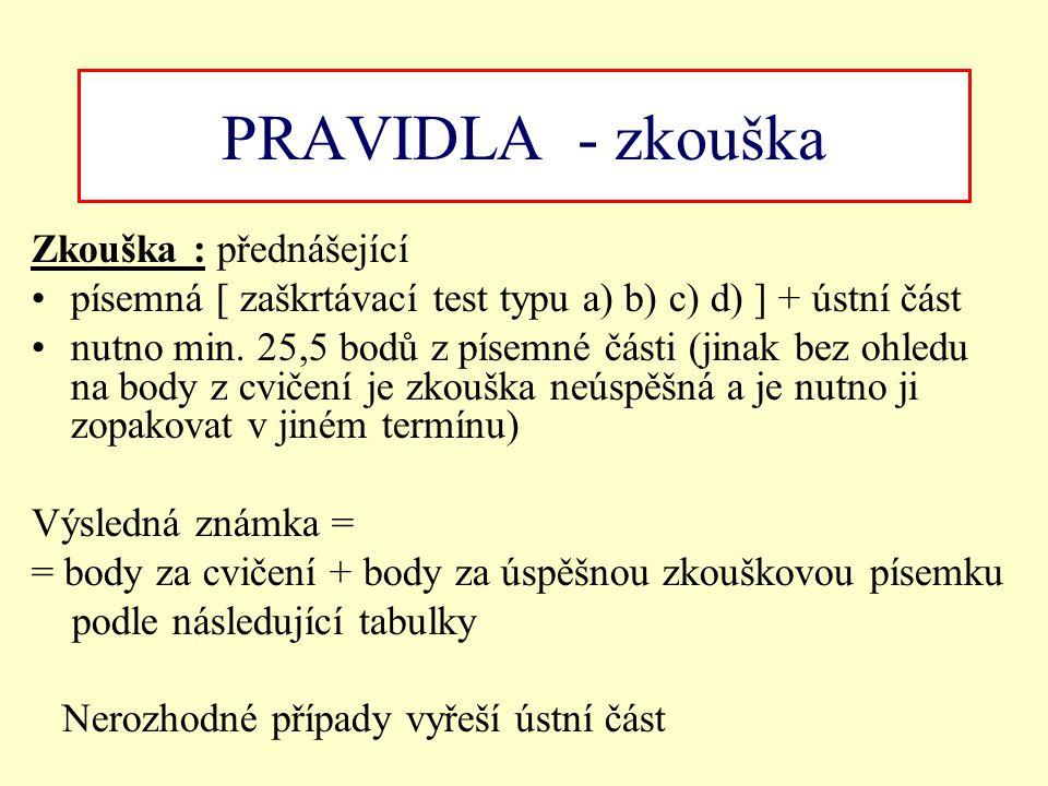 PRAVIDLA - zkouška Zkouška : přednášející písemná [ zaškrtávací test typu a) b) c) d) ] + ústní část nutno min. 25,5 bodů z písemné části (jinak bez o