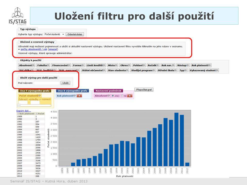 Seminář IS/STAG – Kutná Hora, duben 2013 Uložení filtru pro další použití