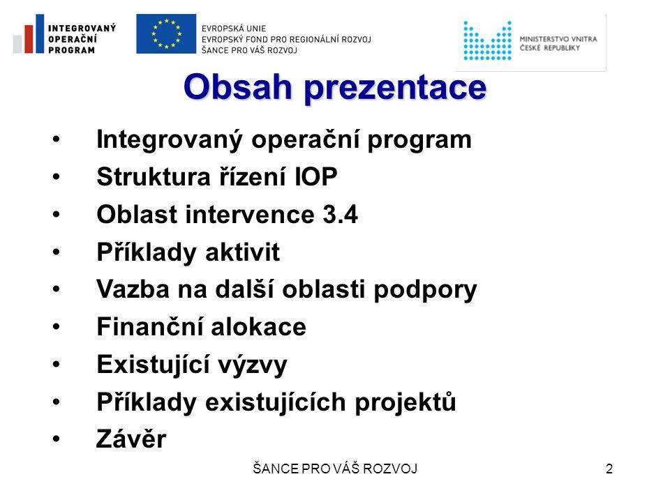 ŠANCE PRO VÁŠ ROZVOJ3 Integrovaný operační program Financován z Evropského fondu regionálního rozvoje – ERDF (tzv.