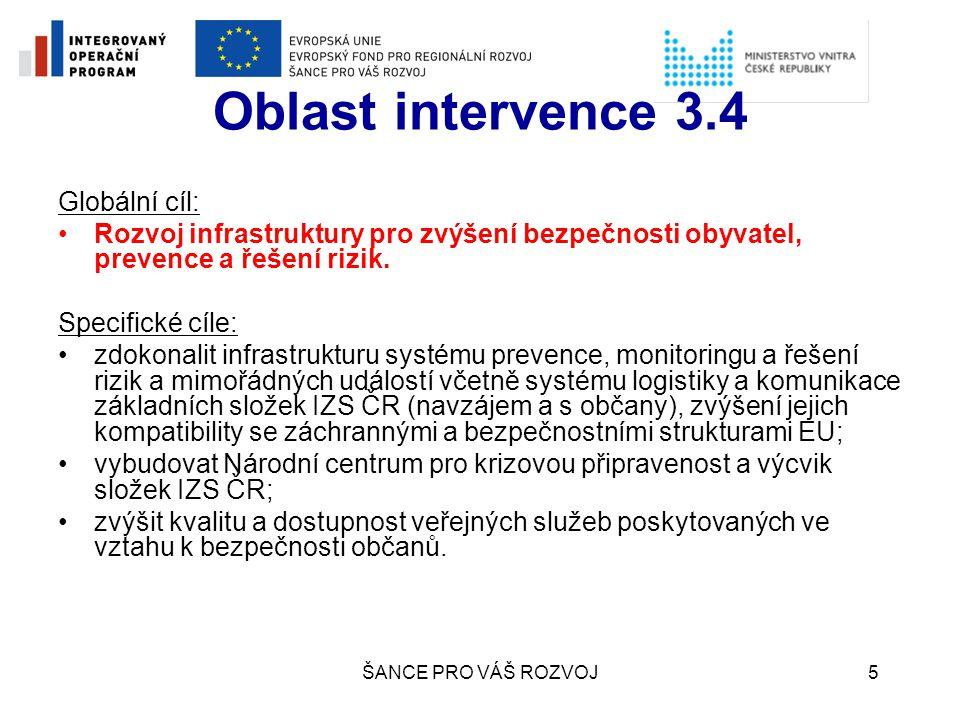 ŠANCE PRO VÁŠ ROZVOJ6 Oblast intervence 3.4 Aktivity oblasti intervence 3.4 a)Vybudování informačního systému operačních středisek IZS b)Vybudování potřebné infrastruktury pro zajištění efektivity příjmu a poskytování humanitární pomoci (podpora vybudování logistické základny s odpovídajícím technologickým vybavením) c)Vybudování odpovídající infrastruktury pro jednotný a efektivní výcvik IZS (vybudování Národního centra pro krizovou připravenost a výcvik složek IZS - velký projekt) d)Pořízení technologie pro zajištění efektivní akceschopnosti IZS e)Zřízení kontaktních a koordinačních center po celém území ČR