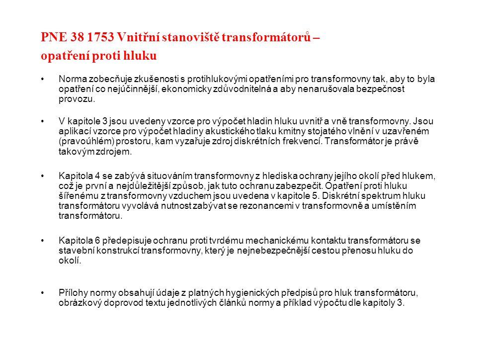 PNE 38 1753 Vnitřní stanoviště transformátorů – opatření proti hluku Norma zobecňuje zkušenosti s protihlukovými opatřeními pro transformovny tak, aby