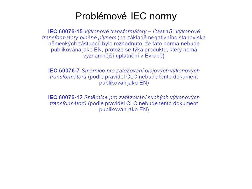 Problémové IEC normy IEC 60076-15 Výkonové transformátory – Část 15: Výkonové transformátory plněné plynem (na základě negativního stanoviska německýc