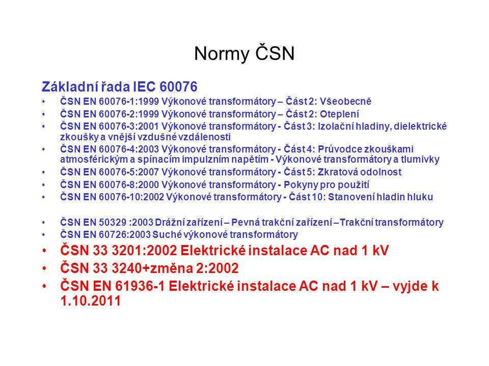 Normy ČSN Základní řada IEC 60076 ČSN EN 60076-1:1999 Výkonové transformátory – Část 2: Všeobecně ČSN EN 60076-2:1999 Výkonové transformátory – Část 2