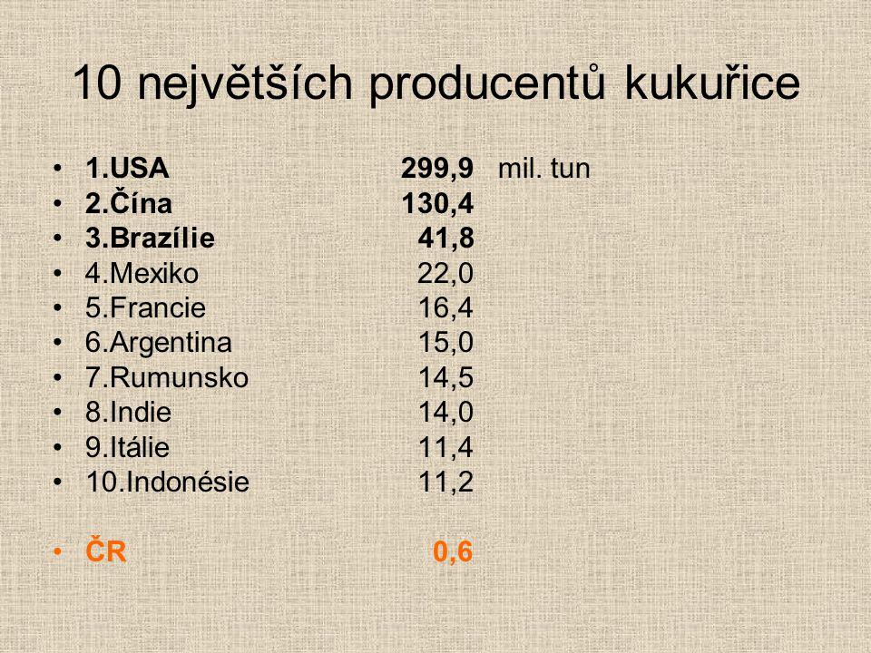 10 největších producentů kukuřice 1.USA299,9 mil. tun 2.Čína130,4 3.Brazílie 41,8 4.Mexiko 22,0 5.Francie 16,4 6.Argentina 15,0 7.Rumunsko 14,5 8.Indi