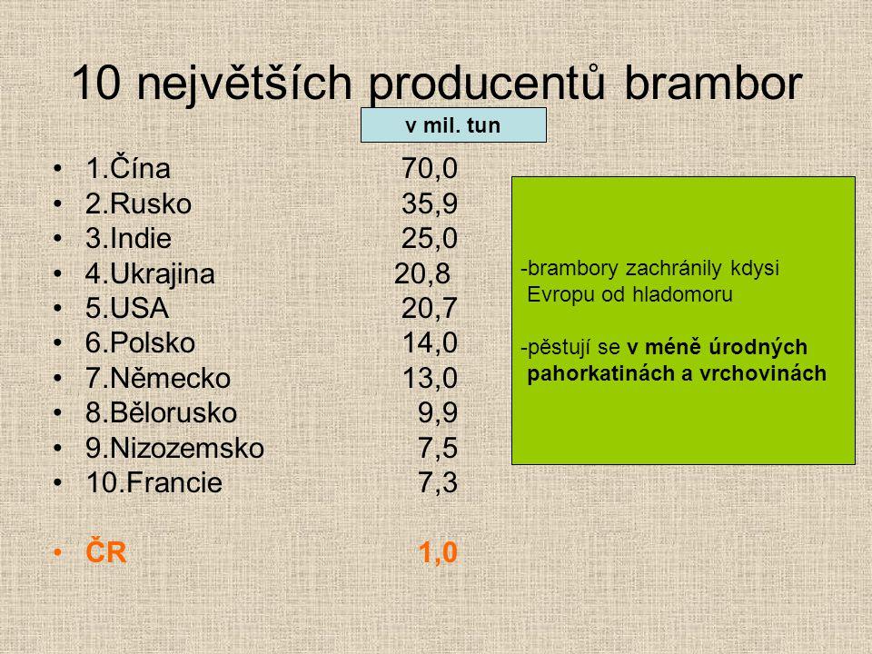10 největších producentů brambor 1.Čína70,0 2.Rusko35,9 3.Indie25,0 4.Ukrajina 20,8 5.USA20,7 6.Polsko14,0 7.Německo13,0 8.Bělorusko 9,9 9.Nizozemsko